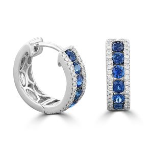 18K White Gold Round Sapphire And Round Diamond Hug Earrings