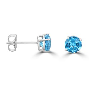 14K White Gold Round Blue Topaz Stud Earrings 2072094WB