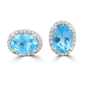 14K White Gold Oval Checkered Blue Topaz Halo Earrings