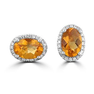 14K White Gold Oval Citrine Halo Earrings