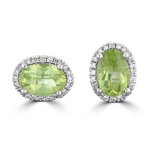 14K White Gold Oval Peridot Halo Earrings