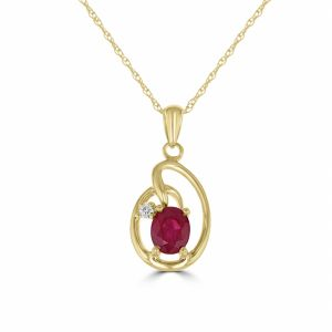 14k Yellow Gold Oval Ruby And Diamond Pendant  3033064Y