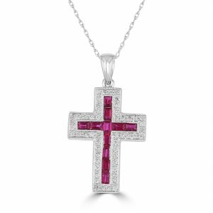 18k White Gold Baguette Ruby And Diamond Cross Pendant