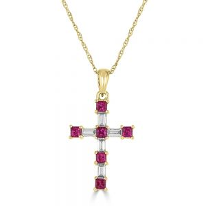 18k Yellow Gold Ruby And Diamond Cross Pendant 3033411Y