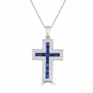 14k White Gold Sapphire And Diamond Cross Pendant