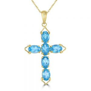 14k Yellow Gold Blue Topaz Cross Pendant