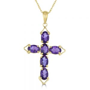 14k Yellow Gold Amethyst Cross Pendant