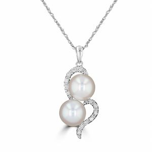14k White Gold Freshwater Pearl And Diamond Pendant