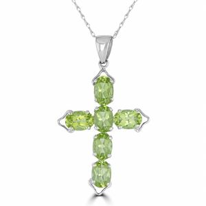 14k White Gold Peridot Cross Pendant