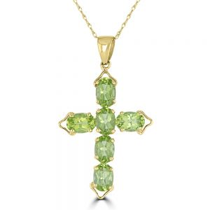 14k Yellow Gold Peridot Cross Pendant