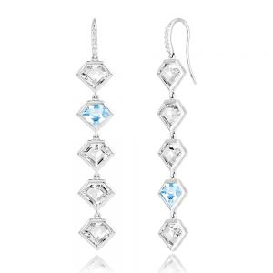 14K Metropolis Blue Topaz + Rock Crystal Five Story Earrings