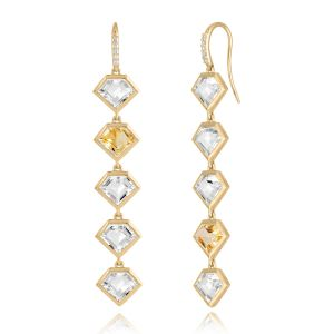 18K Metropolis Citrine + Rock Crystal Five Story Earrings