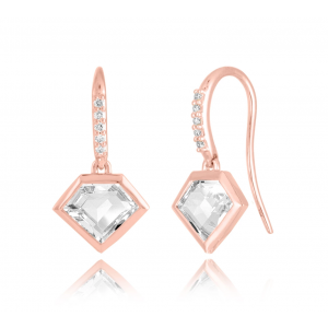 14K Metropolis Rock Crystal Short Story Earrings