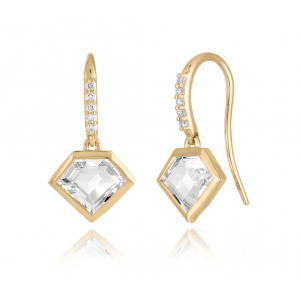 18K Metropolis Rock Crystal Short Story Earrings