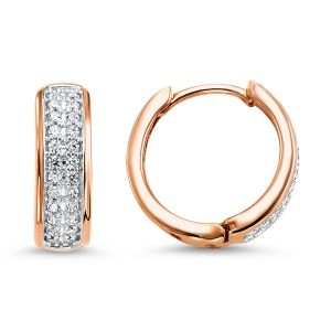 10K Two Row Diamond Huggie Hoop Earrings