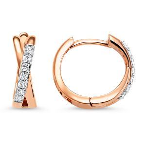 10K Diamond X Huggie Hoop Earrings