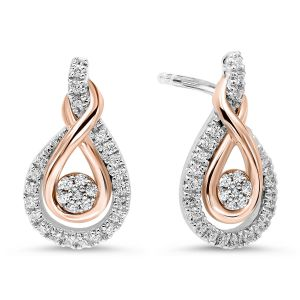 Gold & Silver Diamond Teardrop Earrings