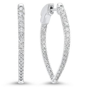 14K White Gold In+Out Diamond Hoops