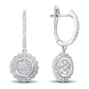 14K White Gold Diamond Dangle Cluster Earrings