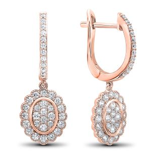 10K Scalloped Oval Halo Cluster Diamond Dangle Earrings