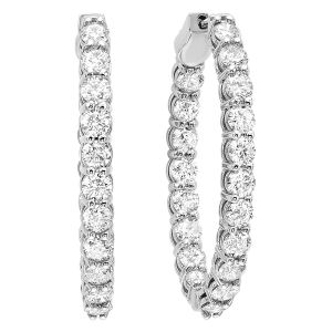14K Classic In+Out Diamond Hoops, 10.0cttw