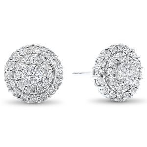 14K Illusion Round Diamond Stud Earrings
