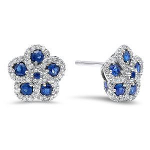 14K Diamond And Sapphire Flower Stud Earrings