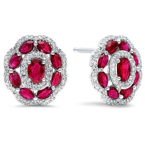 14K Diamond And Ruby Oval Floral Stud Earrings