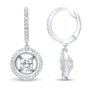 14K White Gold Diamond Dangle Earrings With Halo