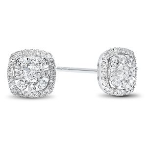 14K White Gold Illusion Set Diamond Halo Studs 1.00 Carats