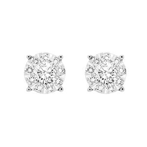 14K Illusion Set Diamond Round Studs, 0.75cttw