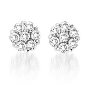 14K Diamond Cluster Stud Earrings, 1.0cttw