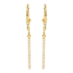 14K Vertical Diamond Bar Dangle Earrings