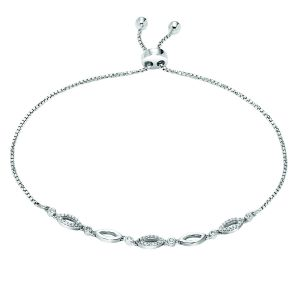 Sterling Silver Marquise-Shaped Diamond Bolo Bracelet