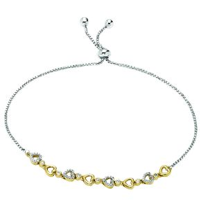 Sterling Silver Two Tone Diamond Hearts Bolo Bracelet