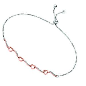 Sterling Silver Linked Hearts Diamond Bolo Bracelet