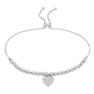 Sterling Silver Beaded Heart Bolo Bracelet