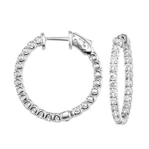 14K White Gold Inside Out Diamond Hoop Earrings