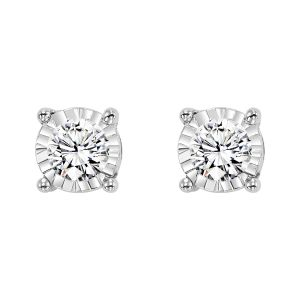 14K White Gold Classic Diamond Studs In An Illusion Setting