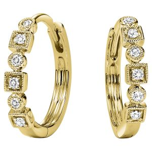 Milgrain Mixed Bezel Diamond Hoops