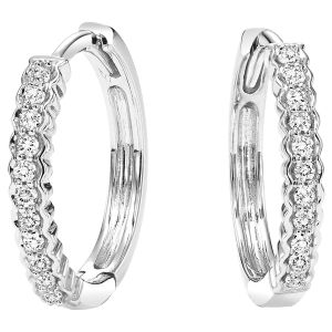 Scalloped Edge Diamond Hoops