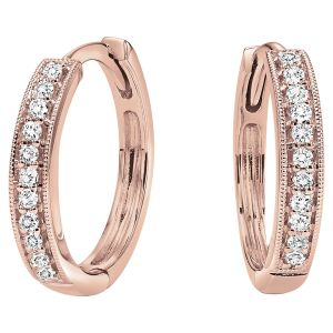 Milgrain Channel Set Diamond Hoops