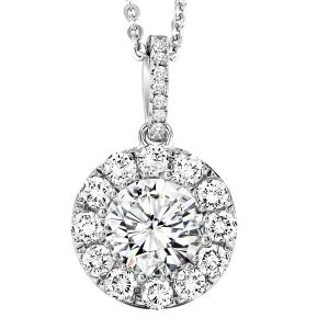 Sterling Silver CZ Halo Solitaire Pendant