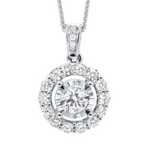 14K White Gold Diamond Pendant With A Combined Weight Of 1.00 Carats