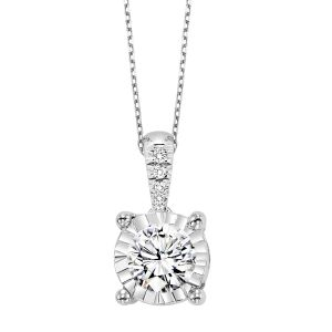 14K Fluted Illusion Diamond Solitaire Pendant, 0.10cttw