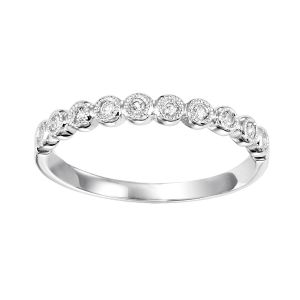 Milgrain Bezel Set Diamond White Gold Stack Ring