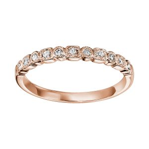 Mixed Milgrain Bezel Diamond Rose Gold Stack Ring