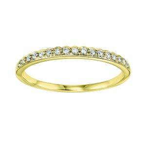 Single Scalloped Edge Diamond Yellow Gold Stack Ring