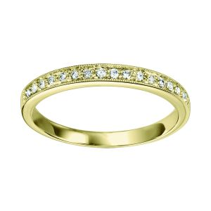 Bead Set Milgrain Yellow Gold Diamond Stack Ring