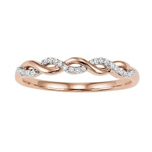 Open Twist Rose Gold Diamond Stack Ring